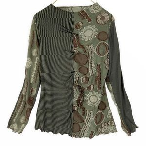 WITCHY Art to Wear Green Striped Brown Stretch Top